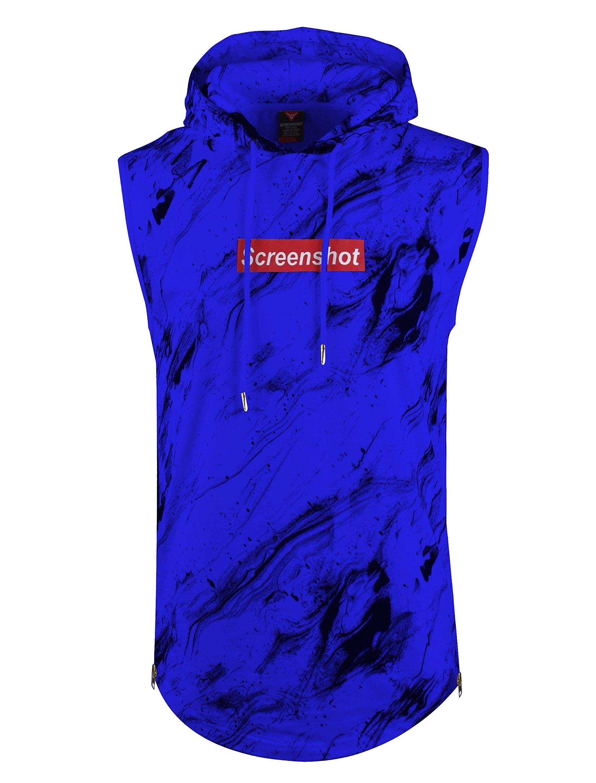 SCREENSHOTBRAND-S11808 Mens Hip Hop Longline Premium Tee - Pullover Sleeveless Hooded Fashion Screenshot Logo T-shirt - Royal - Xlarge