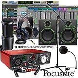 Focusrite Scarlett Solo 2nd Home Recording Studio Bundle w/ Mackie CR4 AT-2020 Mic