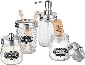 Premium Mason Jar Bathroom Accessories Set, Mason Jar Soap Dispenser, 2 Apothecary Jars (Qtip Holder), Toothbrush Holder, Rustic Bathroom Accessories Farmhouse Decor Vanity Organizer, Brushed Nickel