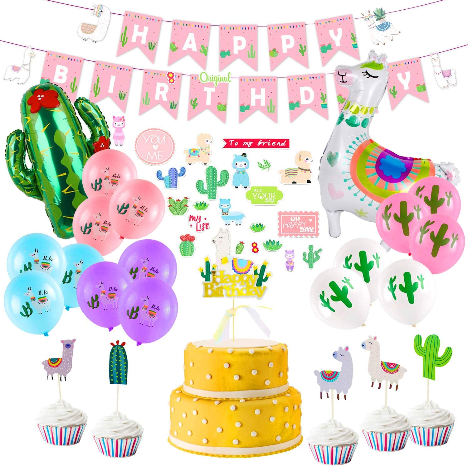 Llama Birthday Party Supplies, Birthday Party Decorations for Girls Kids,  Llama Party Decorations with Happy Birthday Banner, Large Llama Cactus Foil