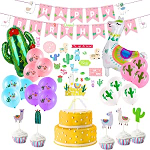 Llama Birthday Party Supplies, Birthday Party Decorations for Girls Kids, Llama Party Decorations with Happy Birthday Banner, Large Llama Cactus Foil Balloons, Cake Topper, Stickers