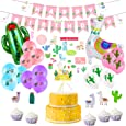 Llama Party Supplies - Pack of 26, Llama Party Decorations with Happy Birthday Banner, Large Llama Cactus Foil Balloons, Llama Latex Balloons, Llama Cake Topper, Llama Stickers for Birthday party