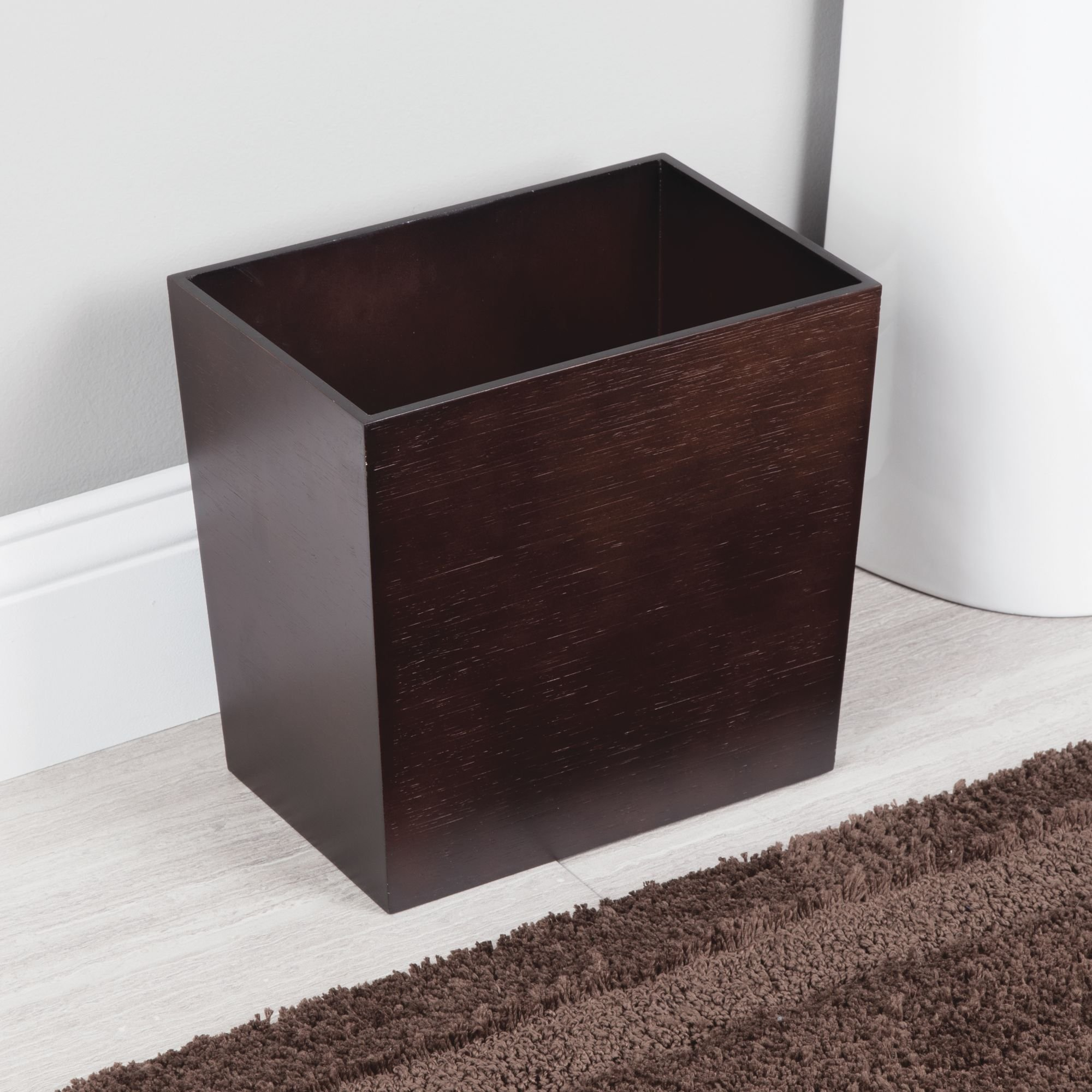 mDesign Rectangular Narrow Wood Trash Can Wastebasket, Small Garbage Container Bin for Bathrooms, Kitchens, Home Offices, Craft Rooms - Bamboo Veneer, Espresso by mDesign (Image #2)