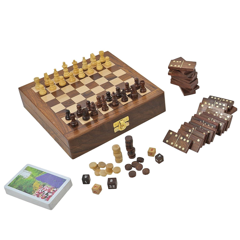 Set von 6 - Holz-Brettspiel für Erwachsene drei in einem Schach-Backgammon und Domino-Spielkarten, Größe: 20,3 cm