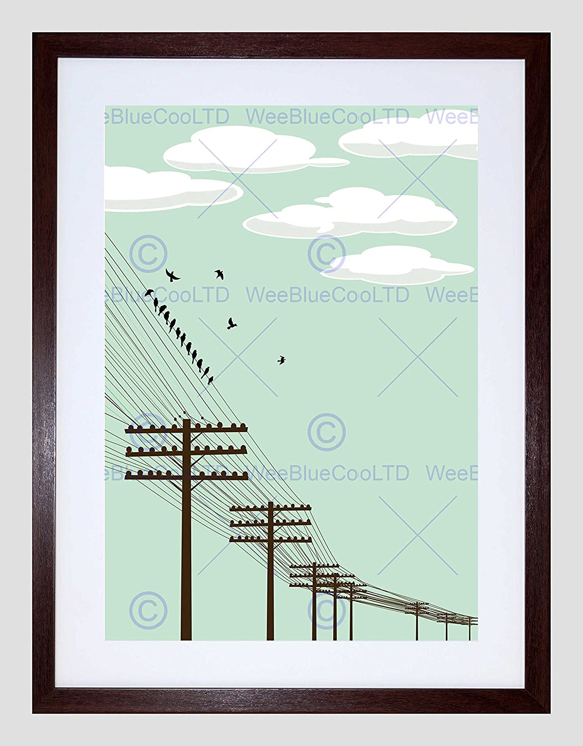 Cool Amazon Com Painting Flock Birds Telegraph Poles Wire Black Framed Wiring 101 Relewellnesstrialsorg