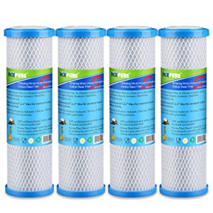"""GOLDEN ICEPURE 1 Micron 2.5"""" x 10"""" Whole House CTO Carbon Sediment Water Filter Replacement Cartridge Compatible with RO Unit, Dupont WFPFC8002,WFPFC9001, FXWTC, SCWH-5, WHEF-WHWC, WHCF-WHWC, 4 Pack"""