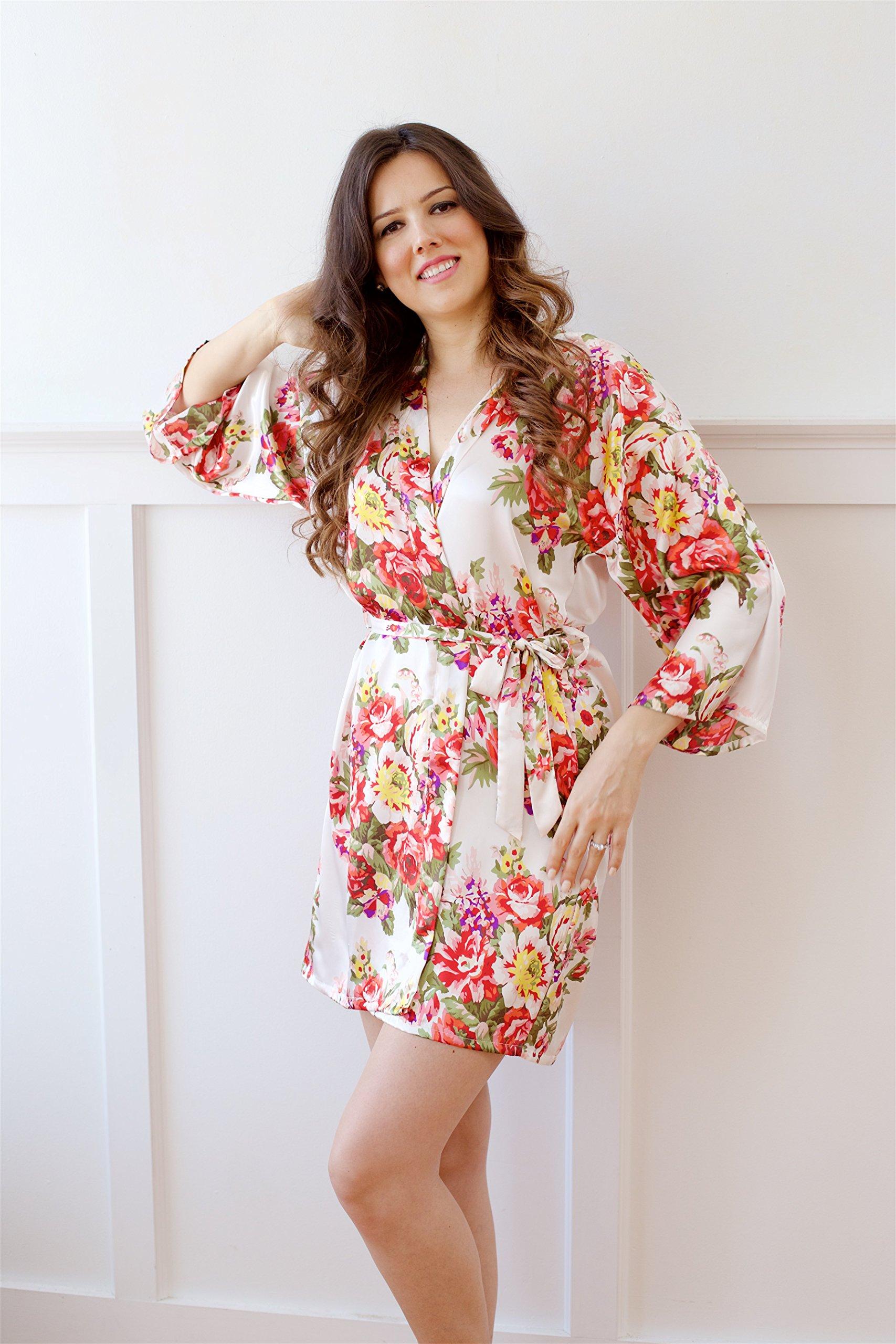 American Cuteness Silk Robes & Gift Pouches - Floral Satin Kimono Robe, Bridesmaid Gift, Bachelorette Bridal Party Getting Ready, Wedding Favor (Plus Size (14-22 US), White)