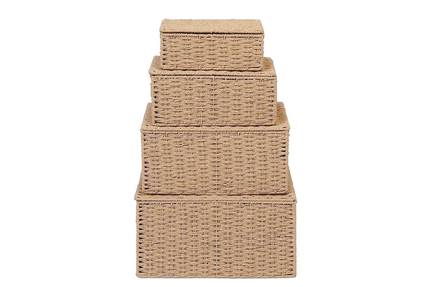 Natural ARPAN Basket Hamper Bin with Lid /& Insert Handles for Easy Carrying Large X Convenient Storage Organizer Box for Multi Purpose Small Medium