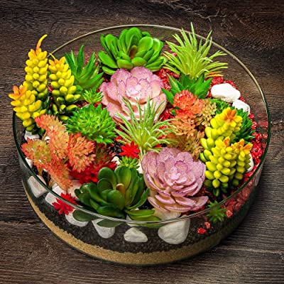 10 Pcs Artificial Plant Mini Plastic Miniature Succulents Red And Green