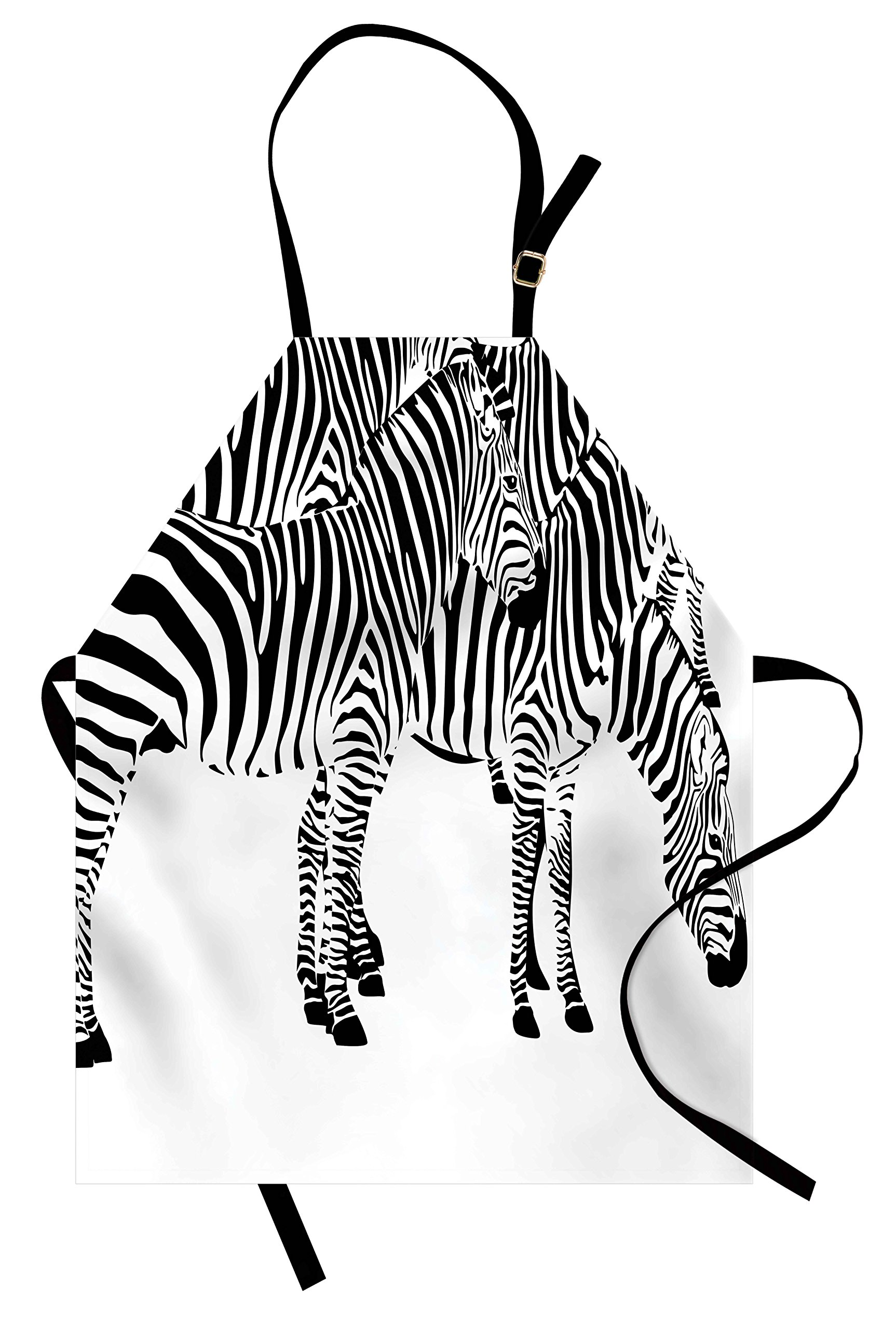 Ambesonne Safari Apron, Zebras African Animals Skin Print with Stripes Jungle Wildlife Picture Artwork, Unisex Kitchen Bib Apron with Adjustable Neck for Cooking Baking Gardening, Black and White
