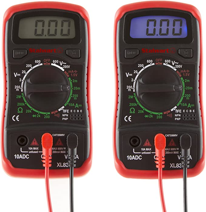 Amp Ohm and Voltage Tester for Outlets Digital Multimeter with Backlit LCD Display and Needle Probes Wire Continuity and Batteries