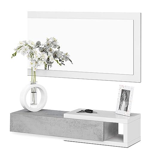Habitdesign - Recibidor con cajón + Espejo, Medidas 19 x 95 x 26 cm de Fondo (Blanco Artik y Cemento)