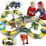 HOMOFY Dinosaur Toys 192Pcs Race Car Flexible Track, Create a Road,3 Dinosaurs,2 Cars Vehicle Playset,Perfect Birthday Toys f