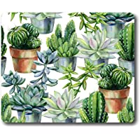 Ice Rabbit Mouse Pad Watercolor Pattern with Cactus and Succulents in Pots Non-Slip Rubber Gaming Mousepad