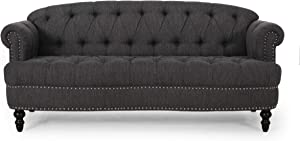 Christopher Knight Home Tracy Contemporary Deep Tufted Sofa with Nailhead Trim, Charcoal