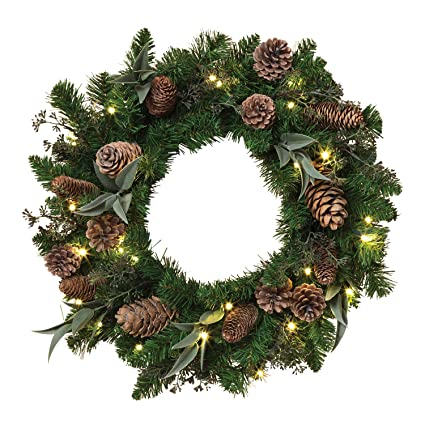 cordless 24 pre lit led christmas pine wreath with cones