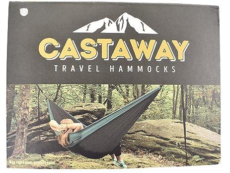 castaway hammocks double travel hammock green charcoal amazon     castaway hammocks double travel hammock green      rh   amazon