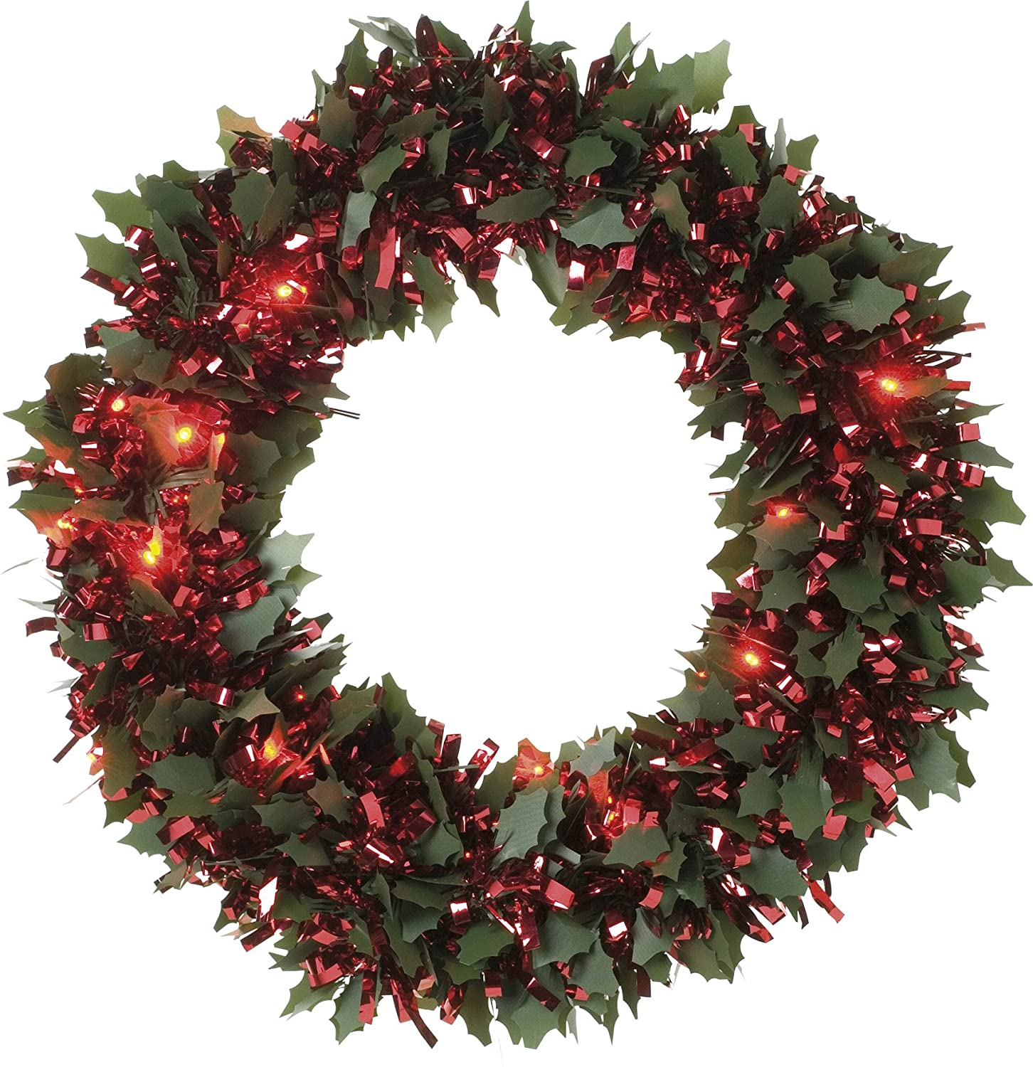 Festive 30cm die cut holly dark pine and red chunky loop tinsel wreath with 25 red battery operated led lights Festive Productions 268504