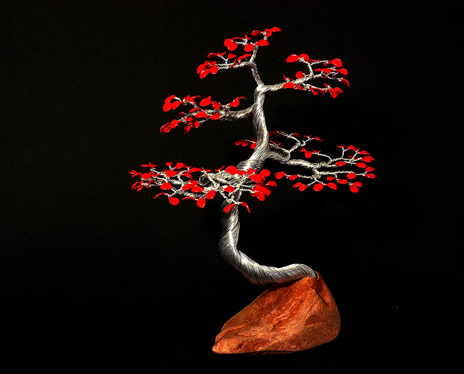 Amazon Com Bonsai Wire Tree Sculpture On The Stone With Red Leafs Handmade