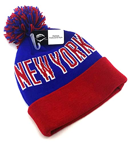 017f8943583 Amazon.com  New York NY Top Leader Pro New Pom Beanie Cuffed Giants Colors Blue  Red Era Hat Knit Cap  Sports   Outdoors