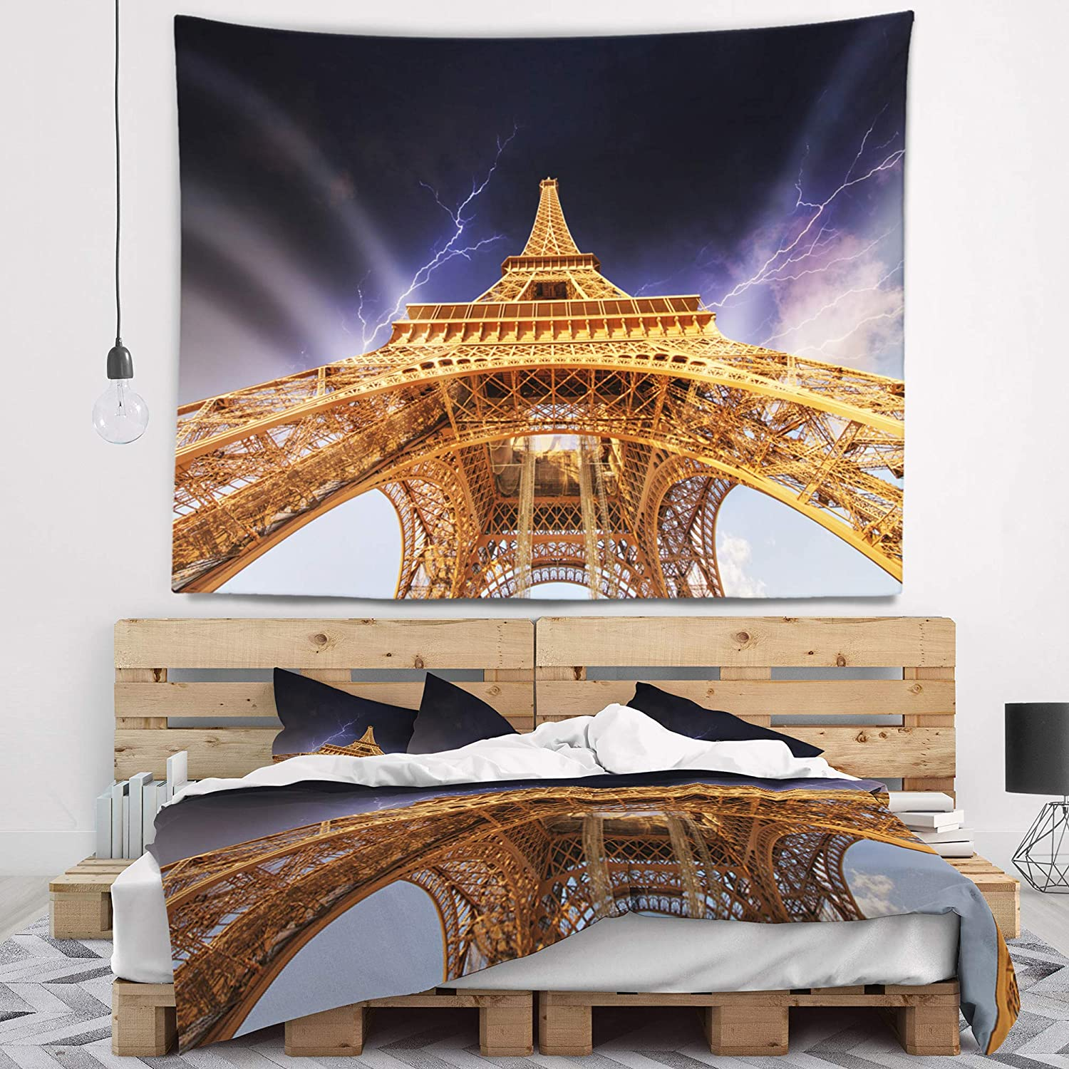Designart Tap10133 39 32 Storm Eiffel Towerin Paris Cityscape Blanket Décor Art For Home And Office Wall Tapestry Medium 39 In X 32 In Created On Lightweight Polyester Fabric