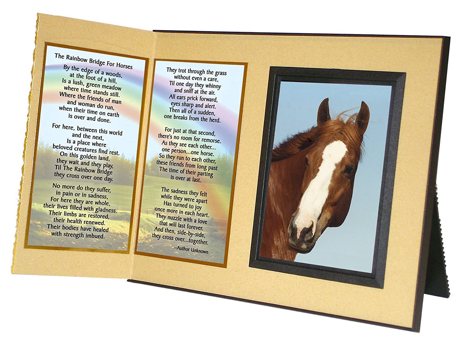 """Rainbow Bridge for Horses"" Sympathy Picture Frame Gift and Memorial , with optional custom photo editing Black with Foil Accent Expressly Yours!"