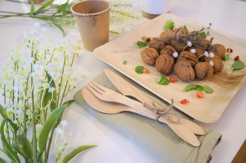 Bio Wary Vajilla desechable Biodegradable y compostable Juego de 25 Platos Desechables de Hojas de Palmera Juego de 25 Tenedores 25 Vasos de cart/ón Desechables. Cuchillos y cucharas de Madera