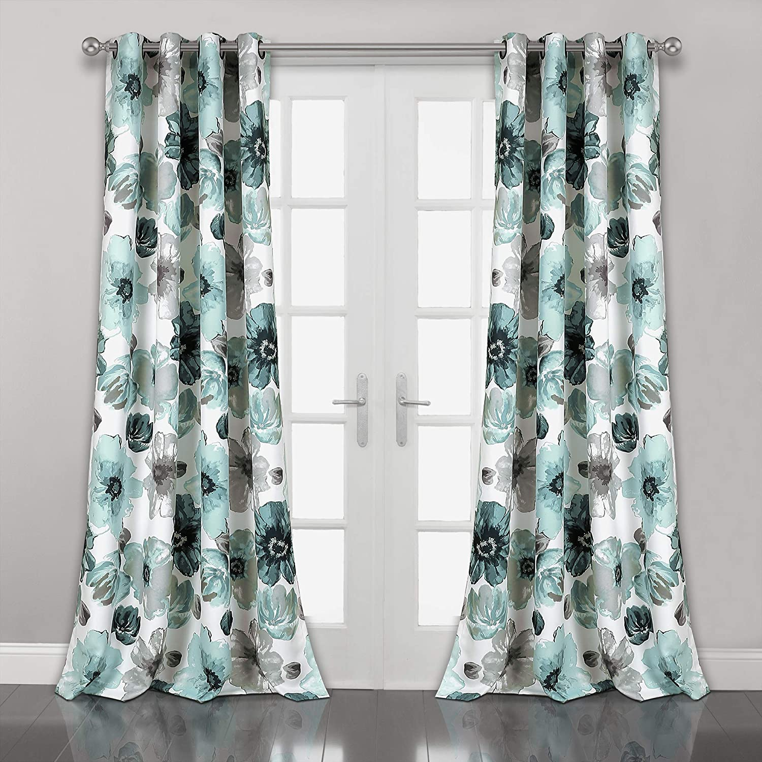 "Lush Decor Leah Floral Room Darkening Window Panel Curtain Set for Living, Dining, Bedroom (Pair), 95"" x 52"" Blue, L"