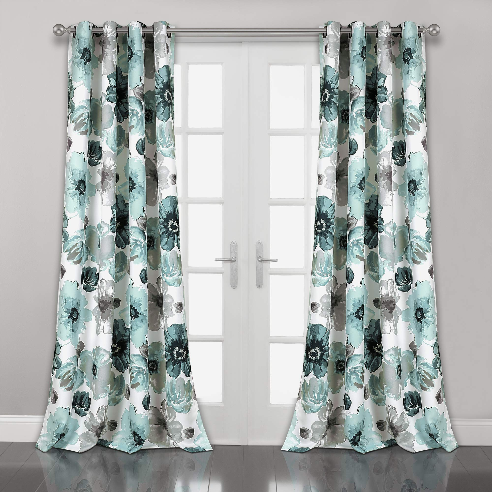 Lush Decor Leah Floral Room Darkening Window Panel Curtain Set for Living, Dining, Bedroom (Pair), 108'' x 52'' Blue, L by Lush Decor