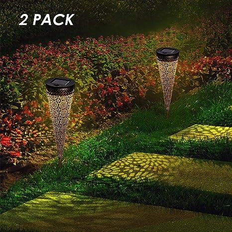 Osaloe Lámpara Solar Exterior, Luz de Jardín de impermeable IP65, Iluminación Decorativa Solar LED, Luces Solares Inalámbrico para Fiesta, Parque, Boda, Senderos, Patio, Navidad (2 Piezas): Amazon.es: Iluminación