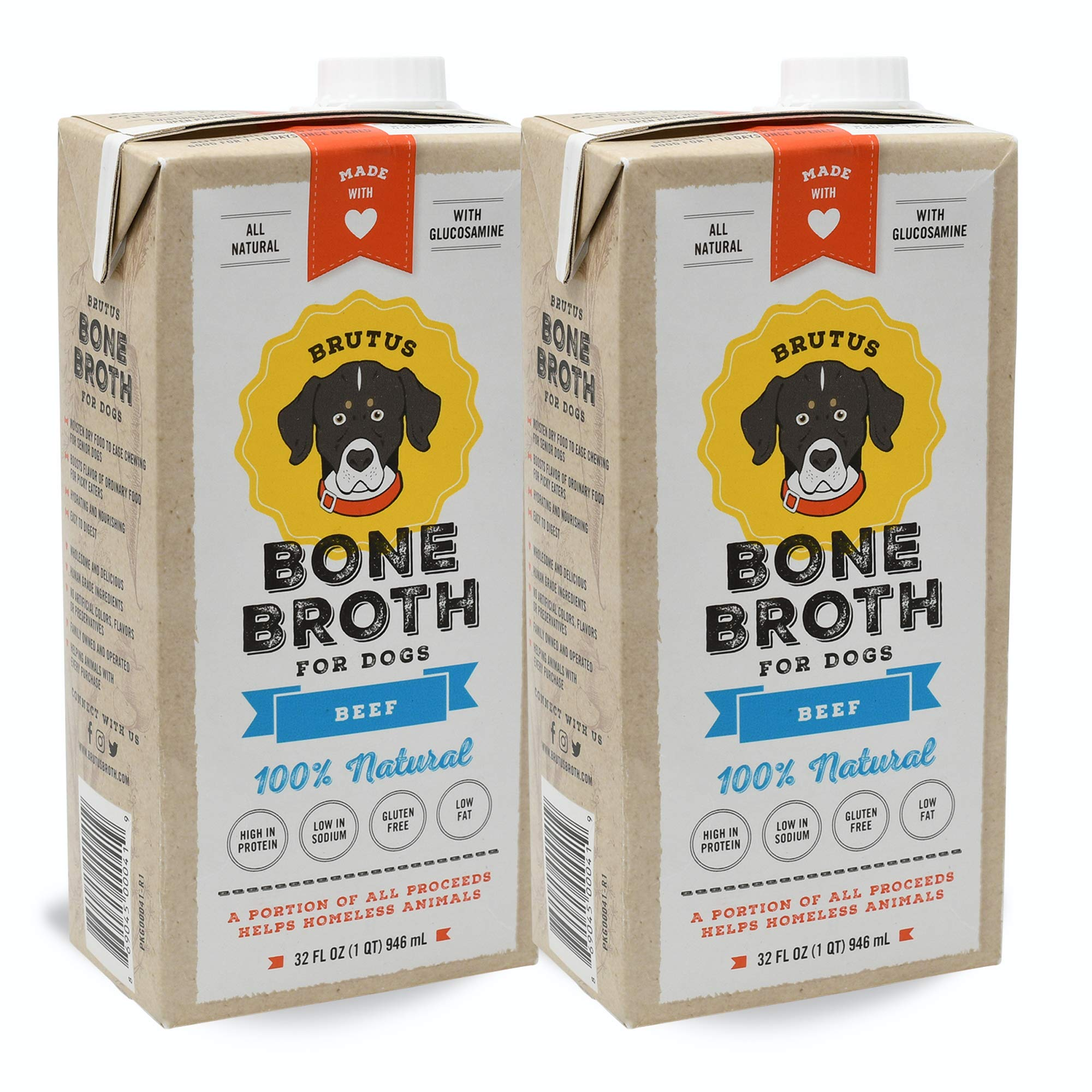 Brutus Bone Broth for Dogs | Beef 2-Pack (64 oz) Made in USA | Glucosamine & Chondroitin for Puppy Joints by Brutus