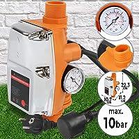 Timbertech Controlador de Presión Automático - 1,1kW, Presión Máx. 10bar, con Manómetro, Protección IP65 - Interruptor de Control Electrónico de Bomba de Agua, Presostato, Presscontrol