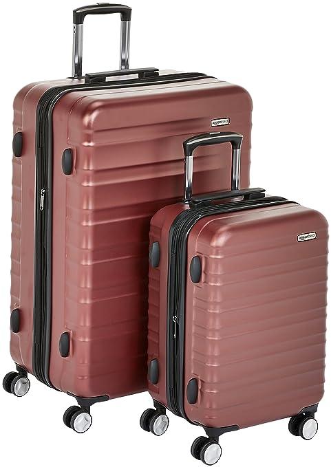 bc85df7026 AmazonBasics - Trolley rigido premium, con rotelle pivotanti e lucchetto  TSA integrato, Set da