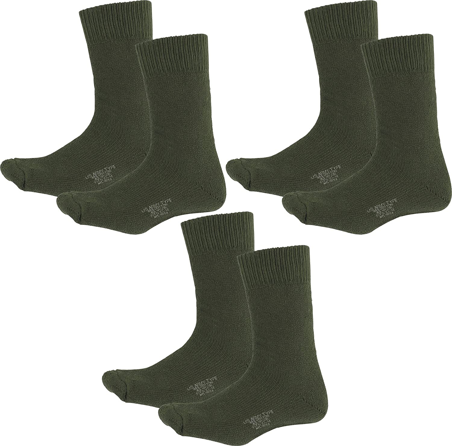 6e7533526 Amazon.com: Heavyweight Nylon/Cotton US Army Military Thick Thermal Boot  Socks - 3 PACK (Black): Clothing