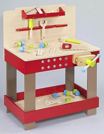 Tolle Grosse Spielwerkbank Werkbank Fur Kinder Aus Holz Mit Zubehor Amazon De Spielzeug