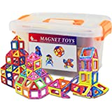 GLOUE 64 PCS Magnetic Building Blocks, Square, Triangle, Large Triangle - Deluxe Building Set