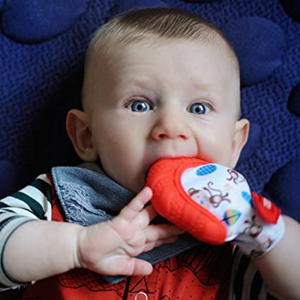 Red Nuby Soothing Teething Mitten With Hygienic Travel Bag