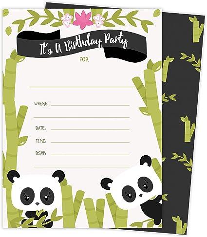 Amazon.com: Panda Feliz tarjetas de invitaciones de ...