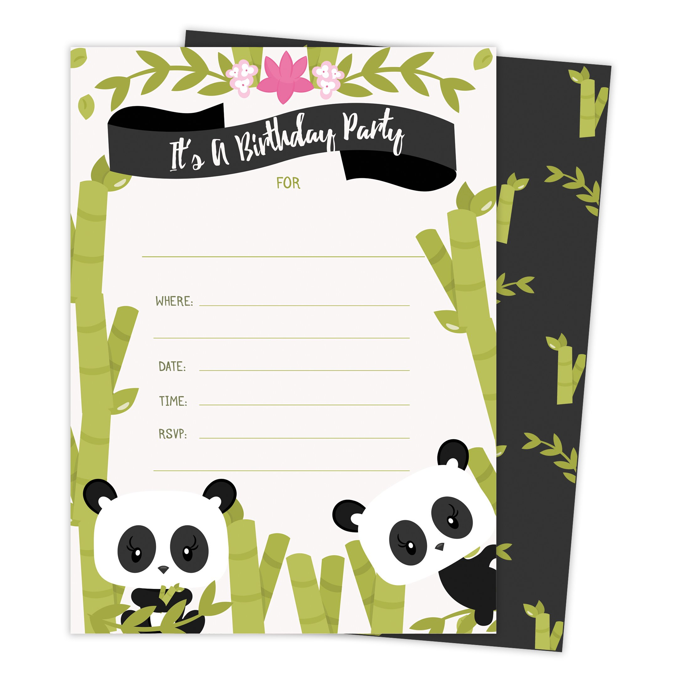 Panda Happy Birthday Invitations Invite Cards (25 Count) with Envelopes and Seal Stickers Boys Girls Kids Party (25ct)
