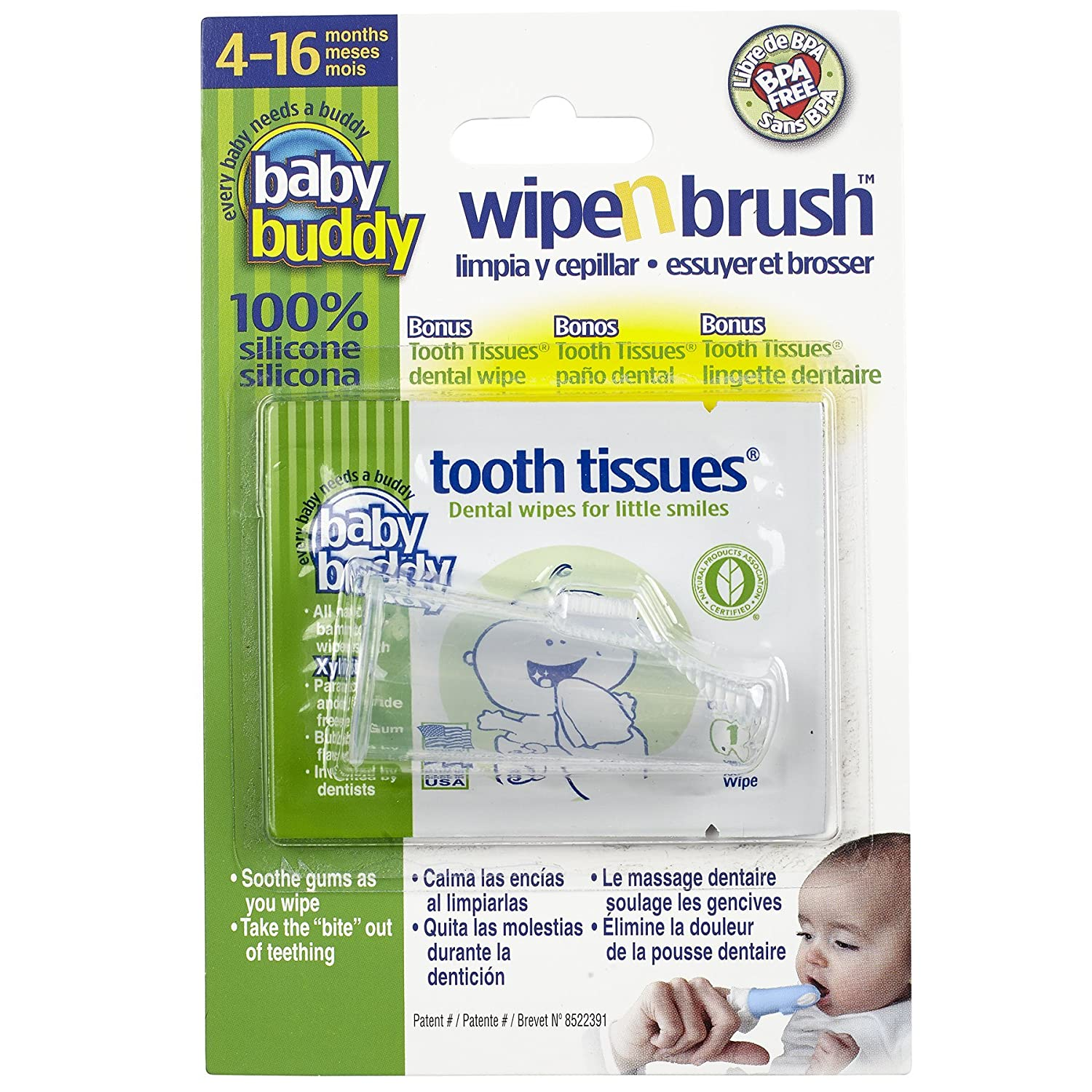 Baby Buddy Clear Wipe and Brush with Tooth Tissues Compac Industries 00586C