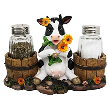 Ebros Gift Lovely Sunflower Cow With Old Country Farm Milk Barrels Decorative Glass Salt Pepper Shakers Holder Resin Figurine 7  Wide