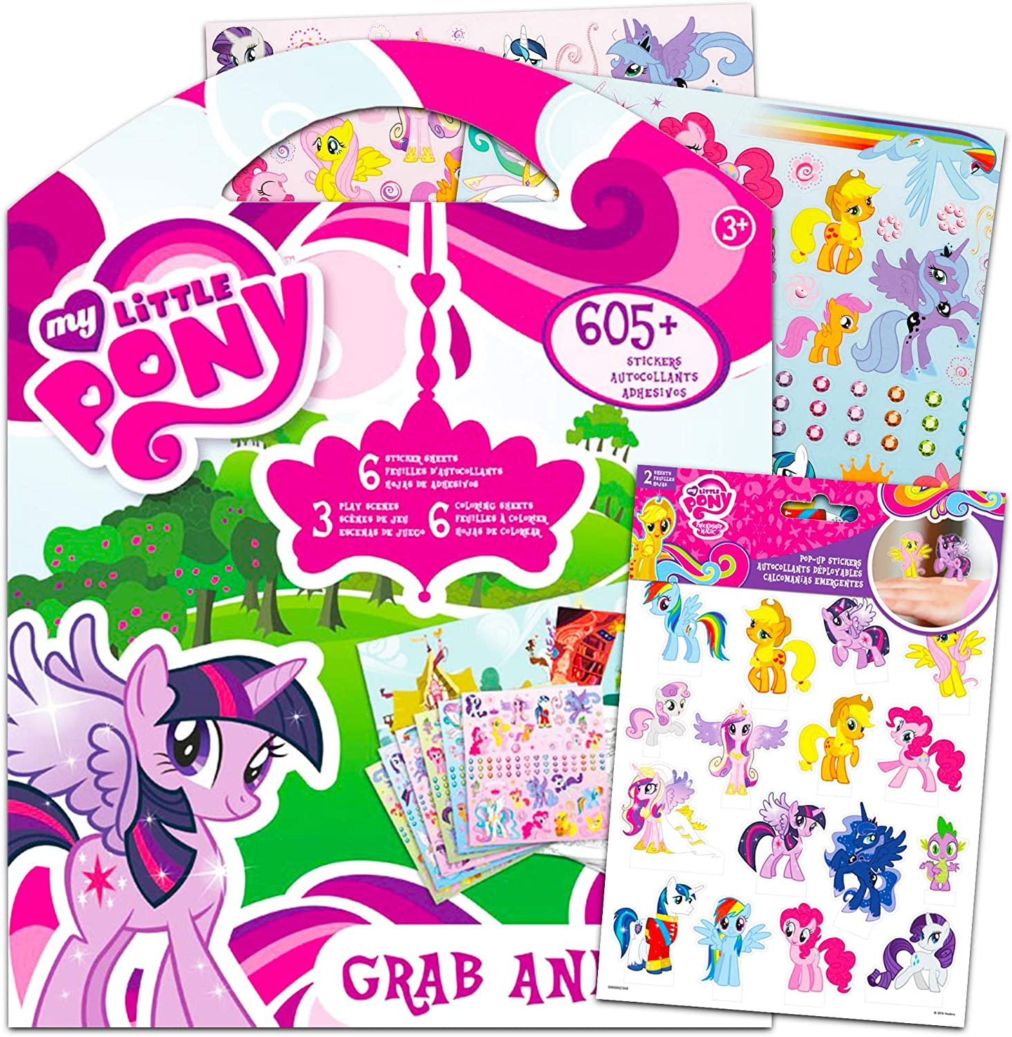 Hasbro My Little Pony Stickers Activity Pretend Play Super Set ~ Over 600 Stickers Including 3D Stand Up Figures with Play Scenes and Coloring Sheets