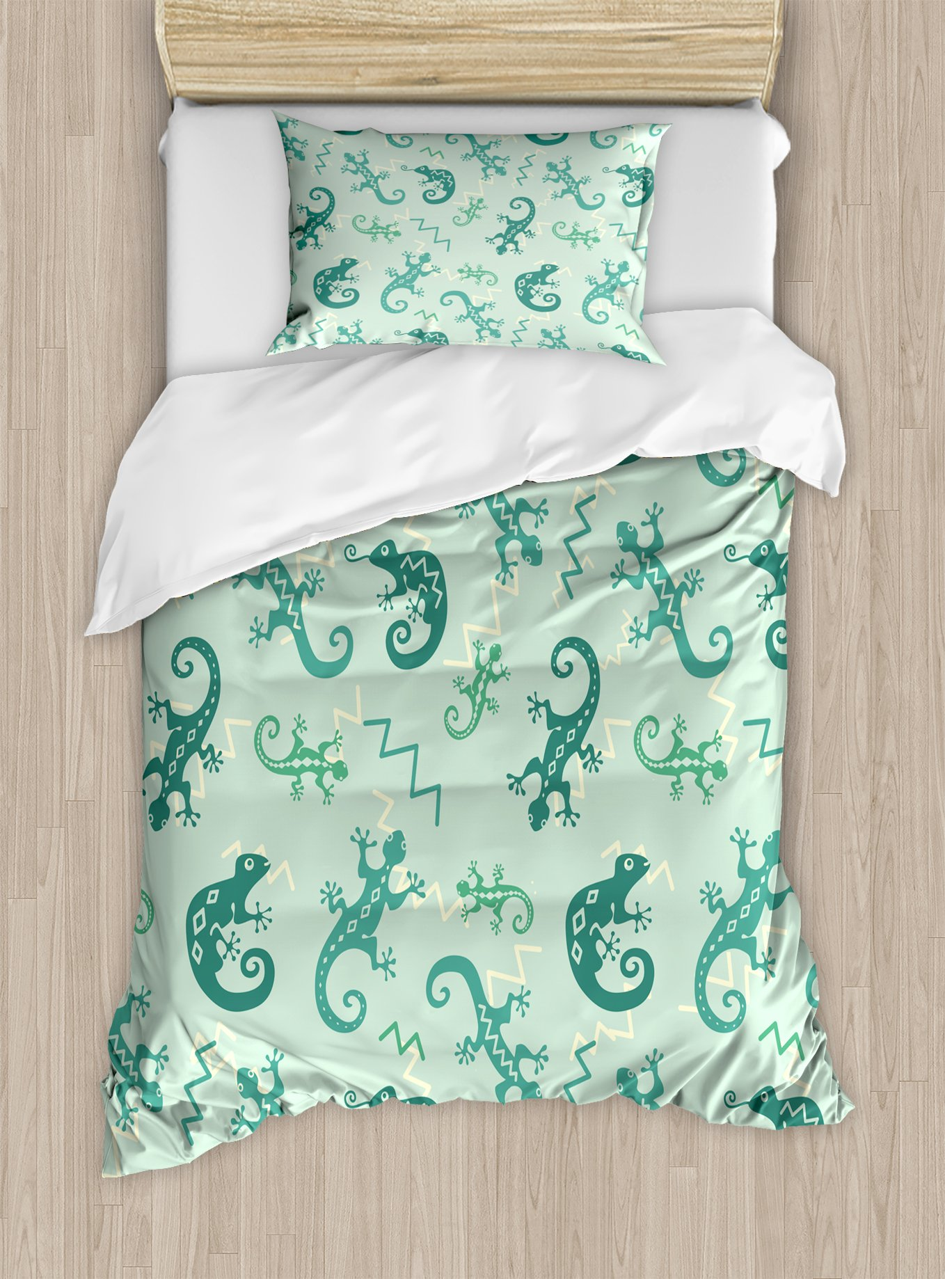 Ambesonne Reptile Duvet Cover Set Twin Size, African Exotic Lizards Chameleons Leaping Illustration Nature Reptiles Kids Nursery, Decorative 2 Piece Bedding Set with 1 Pillow Sham, Green Mint