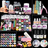 PHEGOFYA Acrylic Nail Kit, 42 in 1 Acrylic Powder Liquid Brush Glitter Base and Top Coat Nail art Tools, Nail Glue Nail Tips
