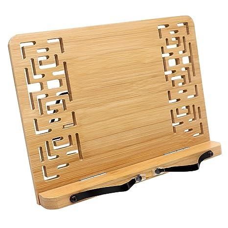 Atril para libros - Plegable Bambú soporte (33.5cm x 24cm) para Lectura Atril