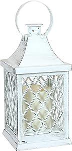 Sunnydaze Ligonier Indoor Decorative LED Candle Lantern - Rustic Vintage Flameless Light for Living Room, Kitchen, Bedroom and Bathroom - Antique Style Tabletop Decoration - 10-Inch