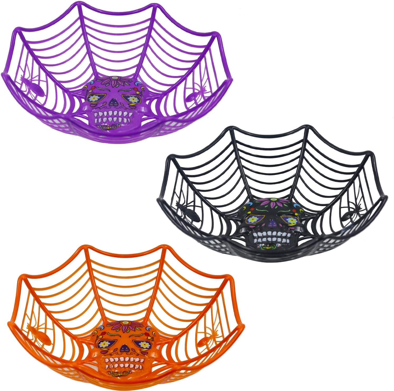 Zcaukya Halloween Party Supplies, 3 Packs Halloween Plastic Trick Treat Bowls, Candy bowl Holder Halloween Spider Web Bowl for Day of The Dead in Black, Orange and Purple