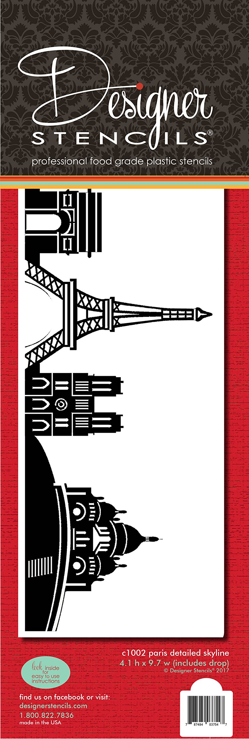 Paris Detailed Skyline Cake Stencil Side C1002 by Designer Stencils