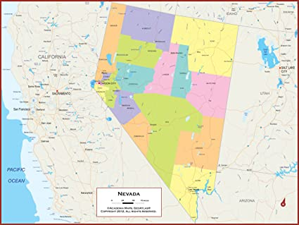 Political Map Of Nevada.Amazon Com 42 X 32 Nevada State Wall Map Poster With Counties