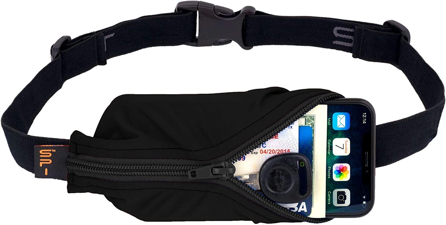SPIbelt Large Pocket Running Belt, No-Bounce Waist Bag for Runners Athletes Men and Women fits iPhone and Android Phones